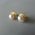 unique dainty elegant mixed metal posts hand crafted for women pearl wedding jewelry