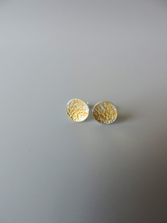 unique sterling silver studs dainty gold earrings hammered texture