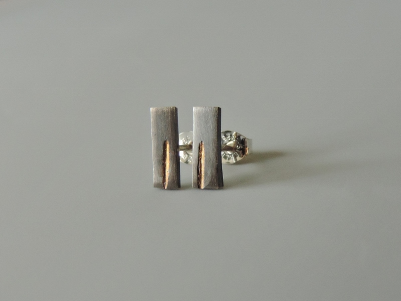 unique minimal small sterling silver gold mixed metal posts hand made for earrings