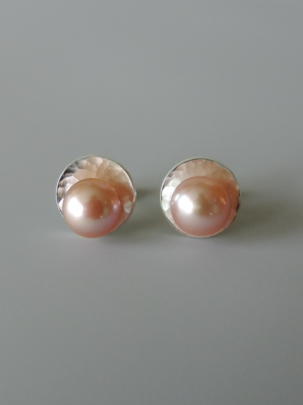 dainty elegant minimal silver pearl post earrings hand crafted for women wedding jewelry bridal party gift