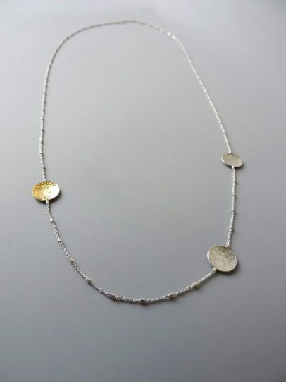 Unique sterling silver handmade dainty gold and silver necklace for women