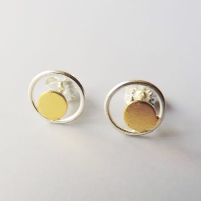 small silver gold studs handmade women