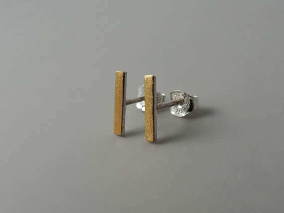 minimal designed sterling silver and gold studs designed for women