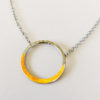 silver gold mixed metal hoop necklace women