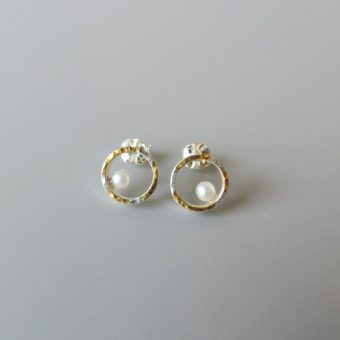 Unique contemporary sterling silver studs for contemporary modern brides mixed meatal hammered earrings