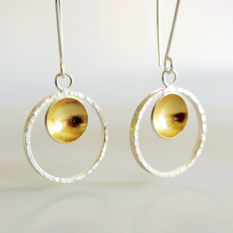 handmade silver gold mixed metal earrings