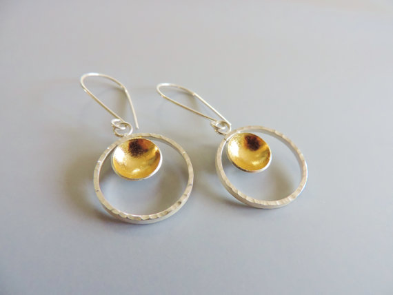 Unique handmade hammered earrings sterling silver and gold mixed metal jewelry