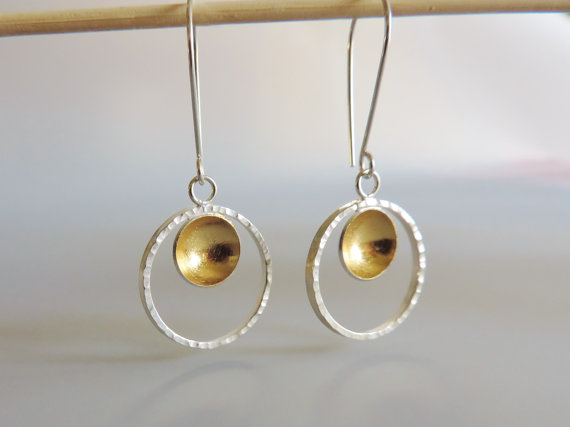 handmade hammered gold hoops designed for women