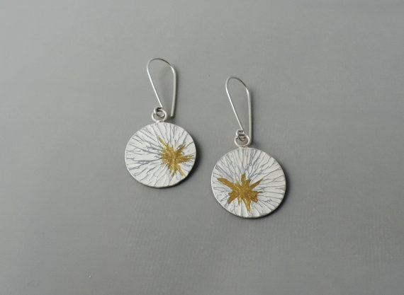 unique contemporary sterling silver and gold mixed metal earrings for the bride