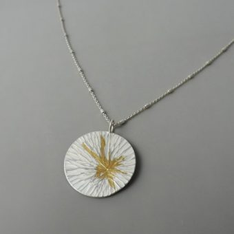 contemporary sterling silver and gold mixed metal necklace for women