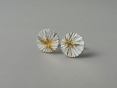 unique sterling silver and gold mixed metal hammered earrings for women