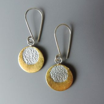 Unique handmade sterling silver mixed metal dainty earrings for women