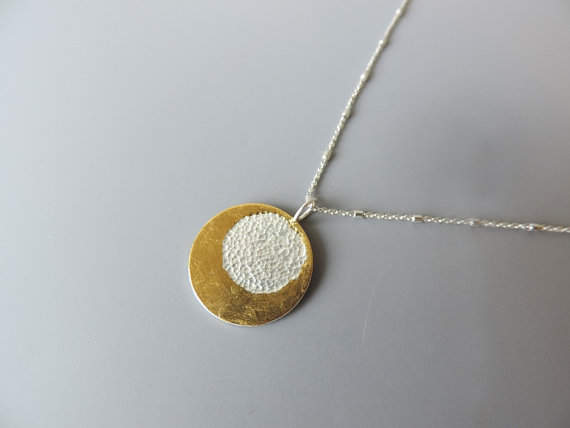 Contemporary hand made sterling silver necklace on a long chain for women