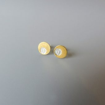 Unique sterling silver hammered dainty gold and mixed metal earrings for women