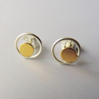 minimal and elegant silver and gold mixed metal earrings designed for women