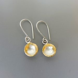 unique and elegant silver and gold mixed metal earrings designed for women