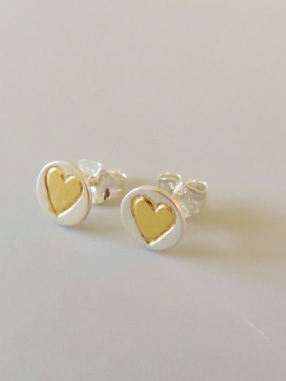 elegant and dainty silver and gold mixed metal earrings designed for women