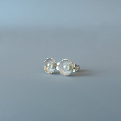 unique and dainty silver and pearl earrings designed for the bride