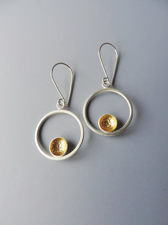 unique and elegant mixed metal dainty gold earrings designed for women