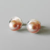 simple elegant wedding pink pearl earrings