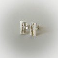 dainty earrings for the bride bridal party sterling silver and gold mixed metal jewelry