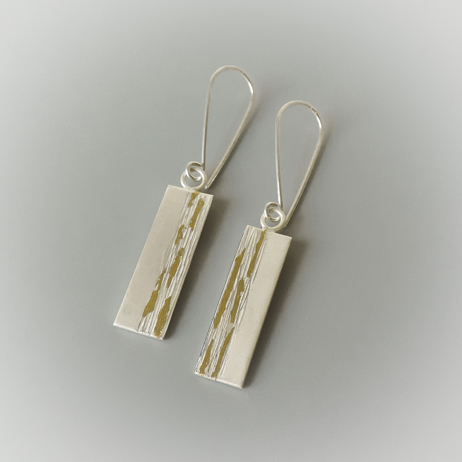 contemporary designed earrings handmade for women silver and gold mixed metal jewelry