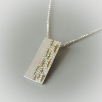 contemporary silver and gold mixed metal necklace hand made for women