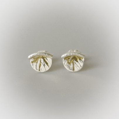 dainty sweet studs silver and gold mixed metal earrings hand made for women