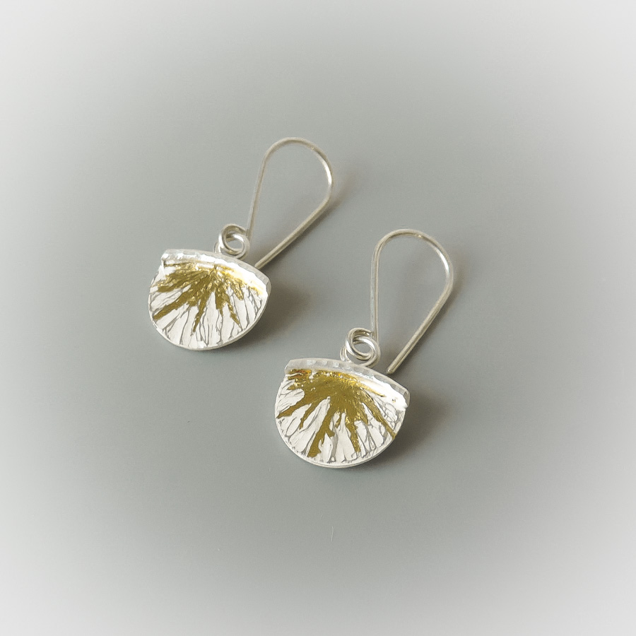 handmade dainty silver and gold mixed metal earrings designed for women
