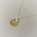 An elegant and classic necklace hand made for women sterling silver and gold mixed metal jewelry