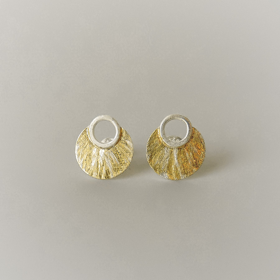 beautiful handmade posts for women sterling silver and gold mixed metal earrings for the bride