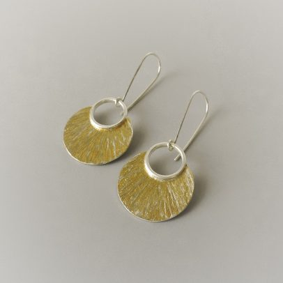 Handmade sterling silver and gold mixed metal earrings for the bride