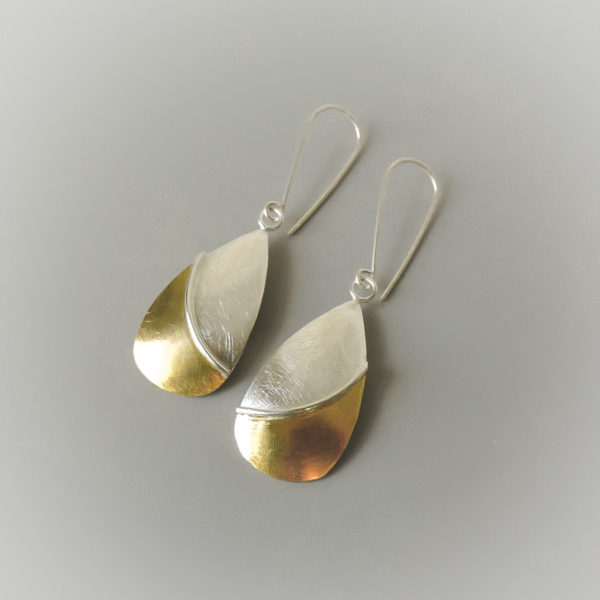 Handmade bridal jewelry for women sterling silver and gold mixed metal earrings