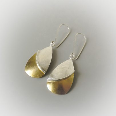 Handmade sterling silver and gold mixed metal earrings for women for the bride