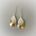 Handmade earrings designed for women sterling silver ans gold mixed metal dangle earrings for the bride