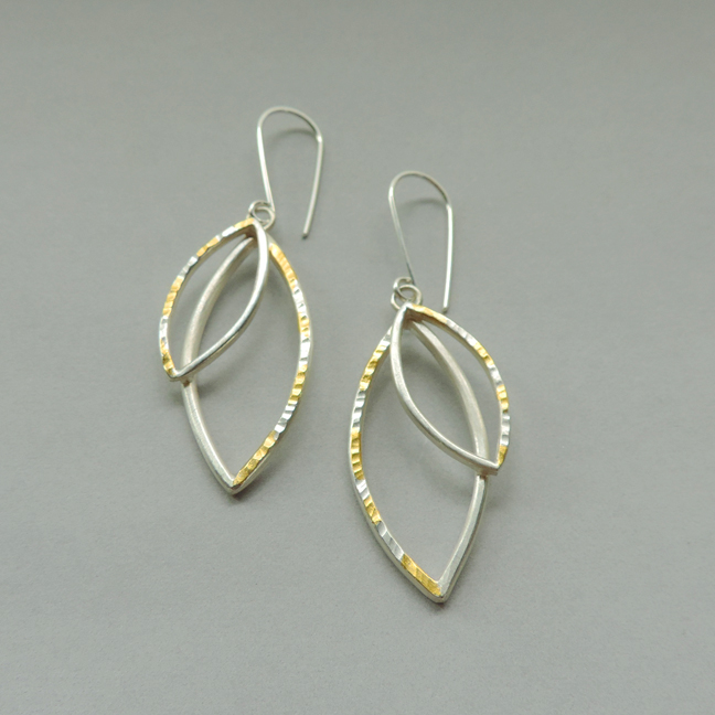 silver and gold mixed metal earrings designed for women for everyday wear
