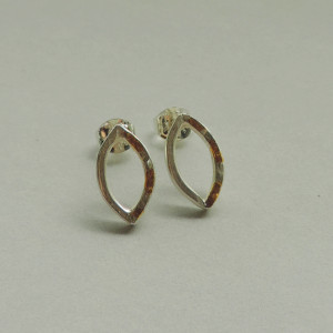 silver and gold mixed metal simple earrings hanmade for women