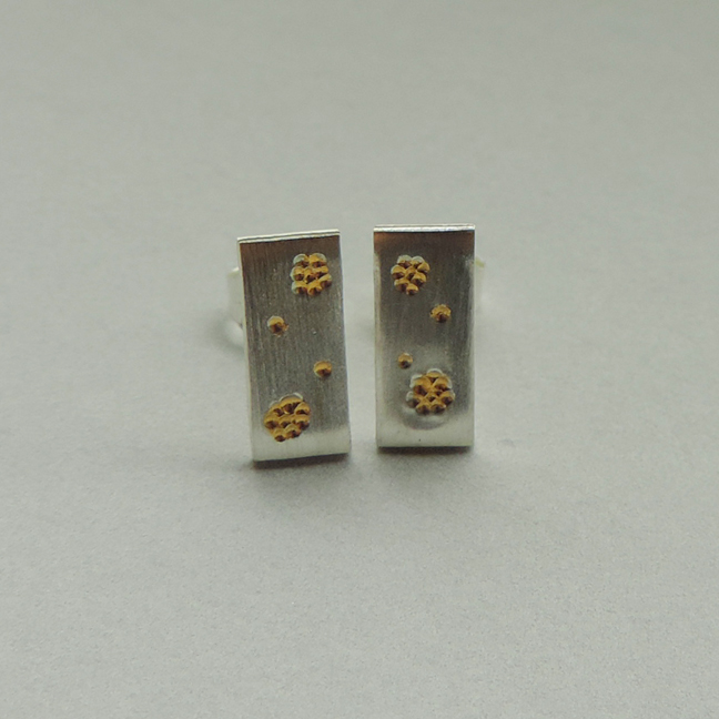 handmade earrings mixed metal jewelry silver and gold simple design