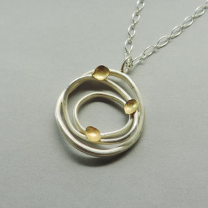 handmade sterling silver and gold mixed metal necklace designed for women