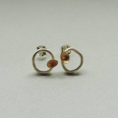 handmade sterling ailver and gold mixed metal earrings for women