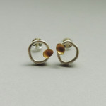 sterling silver gold mixed metal earrings designed for women