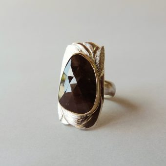 one of a kind silver gold ring ruby sapphire hand made for women