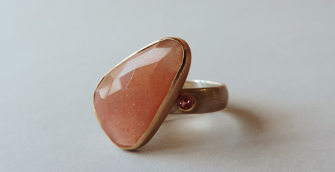 unique peach moonstone ring silver and gold handmade for women
