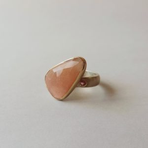 one of a kind moonstone sapphire ring in silver and gold pink statement ring handmade for women
