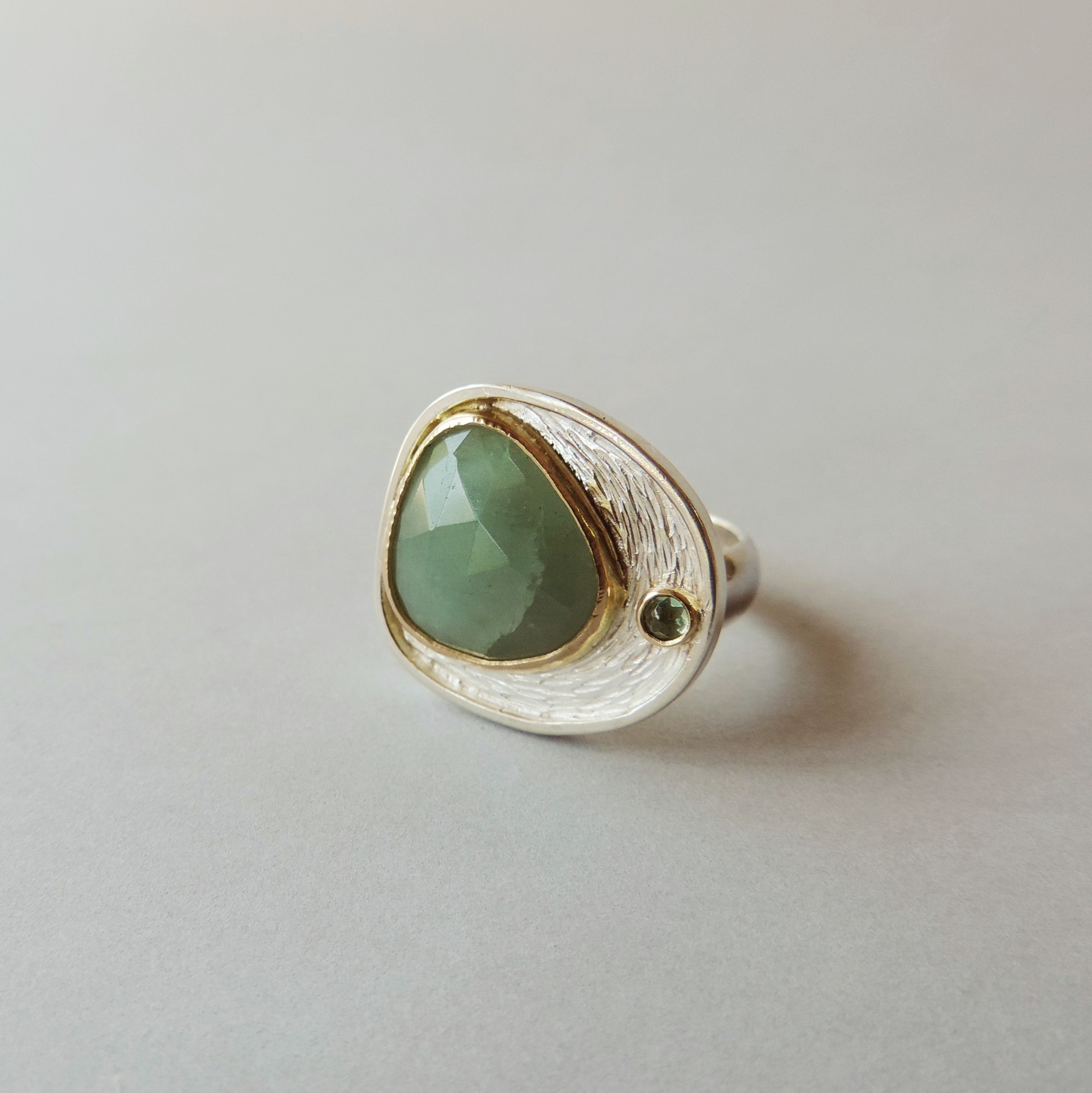 aquamarine silver and gold ring handmade for women statent jewelry designed for women