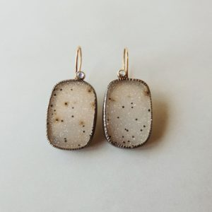 one of a kind silver and gold druzy earrings handmade for women