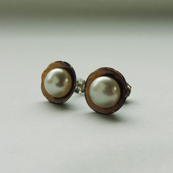 classic mixed metal pearl earrings handmade for women