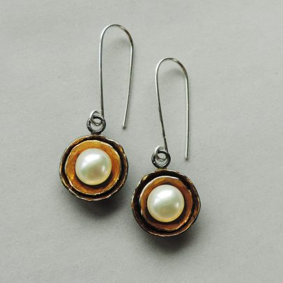 handcrafted silver and gold earrings pearl dangles for women