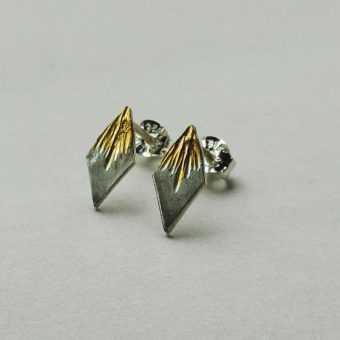 handcrafted silver and gold studs handmade for women