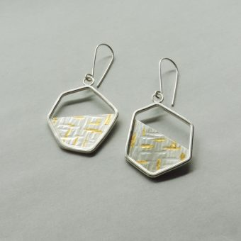 unique contemporary silver and gold mixed metal earrings handmade for women